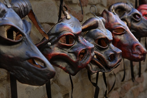 Maschere inquietanti cuoio simboli pagani paurose animali Pagan symbols leather masks scary scary animals by zavoli.giuseppe, via Flickr