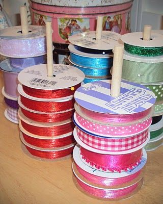 Life and Art with Glamma Fabulous: How to Make Ribbon Storage Posts