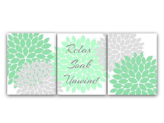 bathroom wall art relax soak unwind mint green and gray