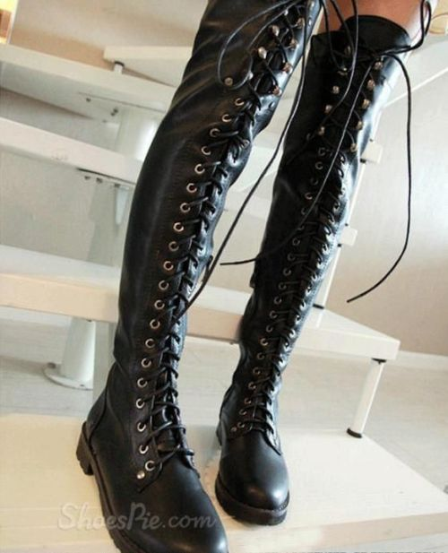 black lace up knee high flat boots yvette s