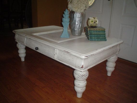 White Shabby Chic Coffee Table by PaddingtonStationjs on Etsy, $160.00