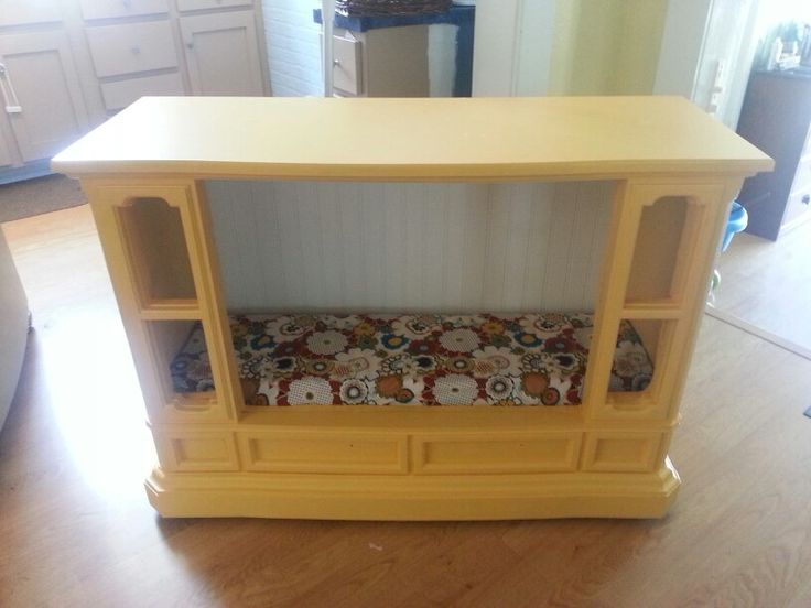 An Old Console Tv Turned Into A Side Table And Dog Bed DIY Will Be Making Something Like This