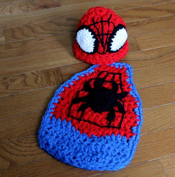 Free Crochet Pattern Baby Capelet : Newborn Baby Boy Spiderman Superhero Hat & Cape Set ...