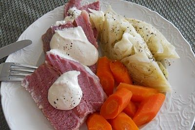 Crockpot Corned Beef and Cabbage with horseradish cream