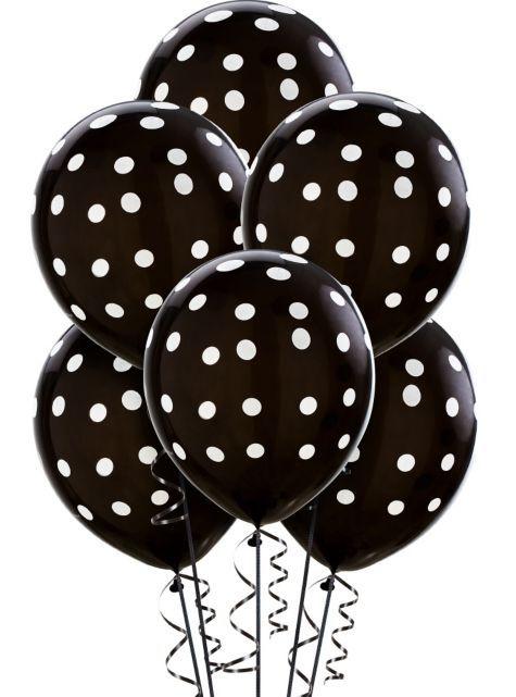 Black polka dot balloons 6ct for Black and white polka dot decorations