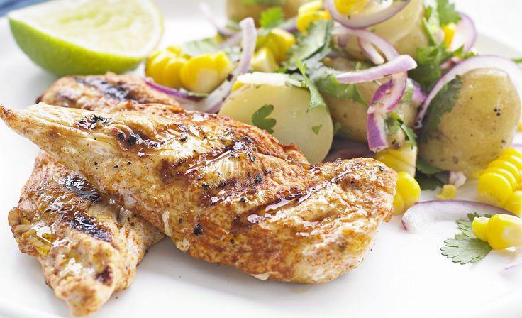 Smoked Chicken with Corn Potato Salad | Chicken Recipes | Pinterest