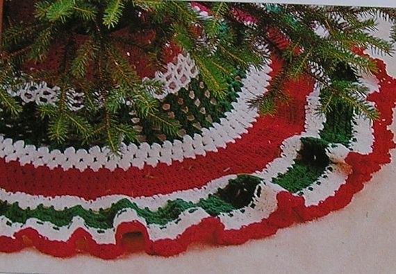 Crochet Pattern Adorable Ruffledl Christmas Tree Skirt