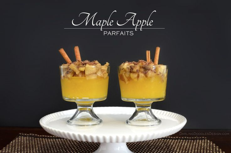 Maple Apple Parfaits with Brown Sugar and Chocolate Topping