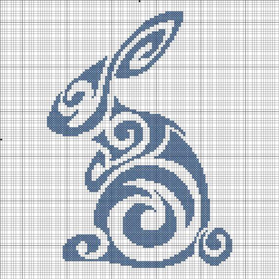 @L a Farme / Anne / La Farme Kendall  Tribal Rabbit Cross Stitch.