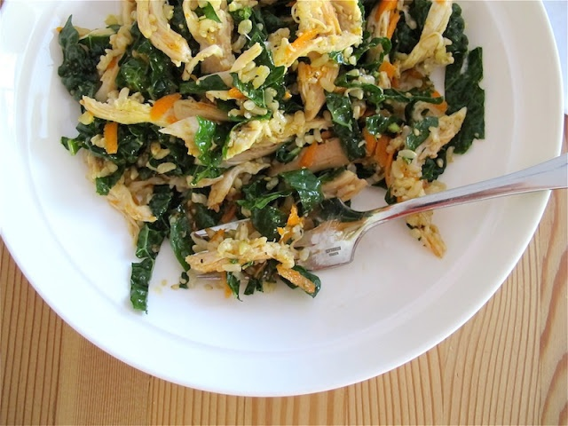 wilted kale asian chicken salad