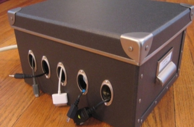 Diy Cord Charger Organizer Box