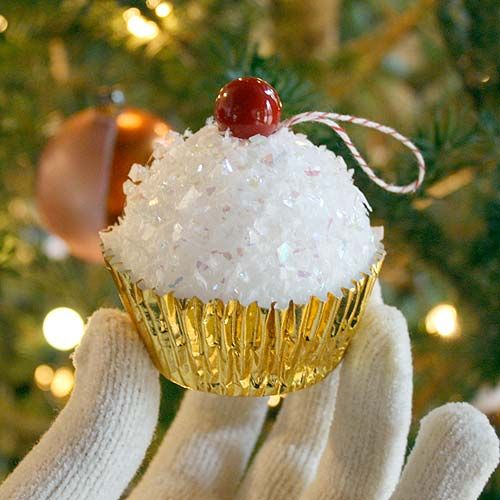 """Cupcake Ornament - Use a Styrofoam ball and """"sprinkles"""" to make this delicious craft. #tutorial"""