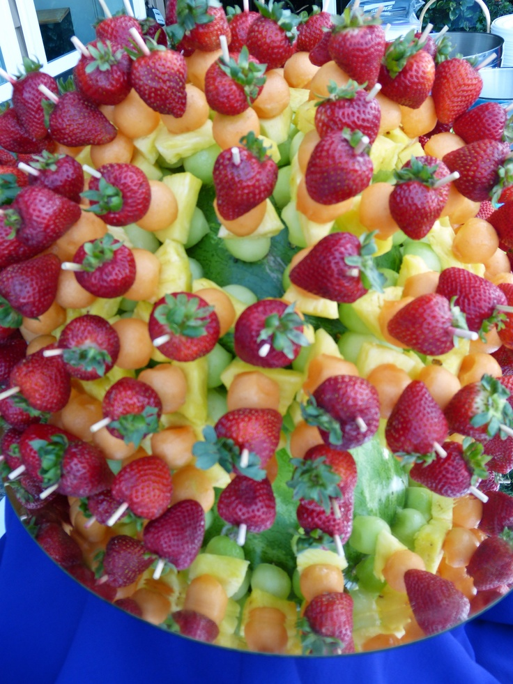 fruit kabobs displayed in a watermelon | Ideas 4 SWAT! | Pinterest