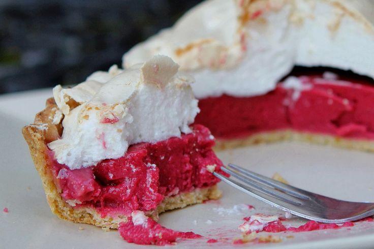 raspberry meringue pie with lime & pistachio pastry - gluten free