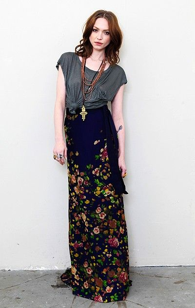 maxi dress and knotted tee