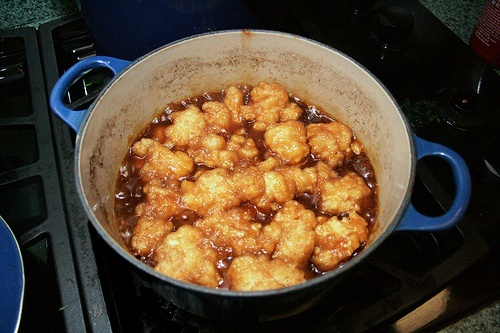 Grand Peres-Maple Syrup Dumplings. with cream poured over the top ...