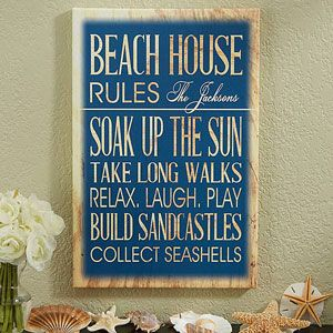"OMG I LOVE this ""Beach House Rules"" personalized canvas print! It comes in 2 colors and 4 sizes and you can personalize it to say anything! It can be for your Beach House, Lake House, Cottage or whatever you'd like and you can make up all your own ""Rules"" ... LOVE THIS! #beachhouse #lakehouse #cottage #beachhouserules"