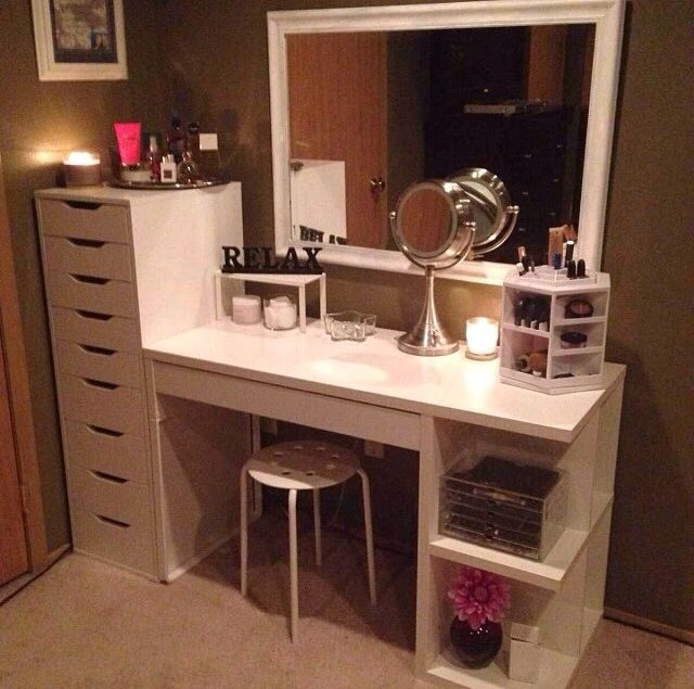 Micke Desk Alex 9 Drawer Both From IKEA Makeup Storage Ideas For M
