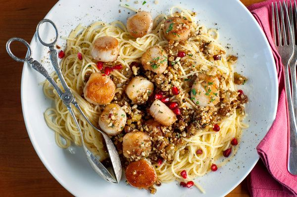 scallops with pomegranate syrup and foriana sauce (walnut, pine nut ...