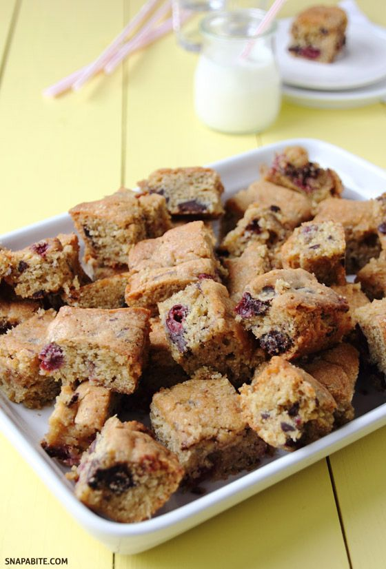 Cherry Chocolate Blondies. | Recipes I'd like to try | Pinterest
