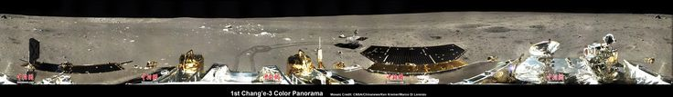 1st 360 Degree Color Panorama from China's Chang'e-3 Lunar Lander. It shows the moonscape view all around the landing site after the 'Yutu' lunar rover left impressive tracks behind when it initially rolled onto the lunar terrain on Dec. 15, 2013. Mosaic [Credit: CNSA/Chinanews/Ken Kremer/Marco Di Lorenzo – kenkremer.com]  Read more: http://www.universetoday.com/108293/1st-360-degree-color-panorama-from-chinas-change-3-lunar-lander/#ixzz2r225Lsas