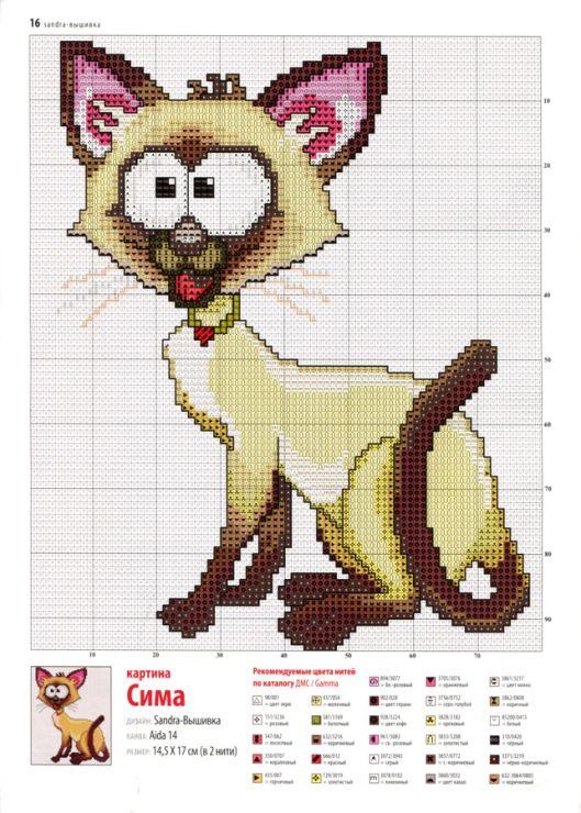 Схема вышивки кошки крестиком 100