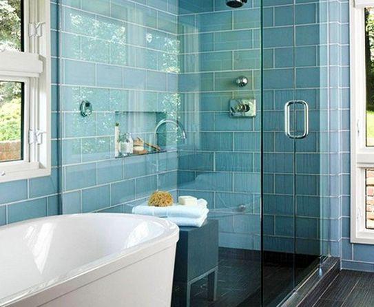 large blue subway tiles bathrooms pinterest. Black Bedroom Furniture Sets. Home Design Ideas