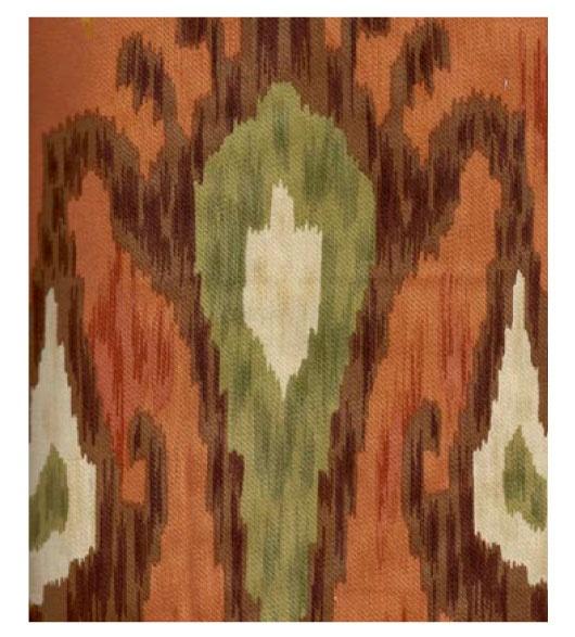 Ikat cinnamon orange fabric by the yard for sofas, drapes, decorative ...