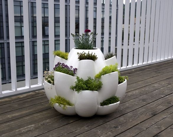 Balcony herb garden Container Gardening Pinterest