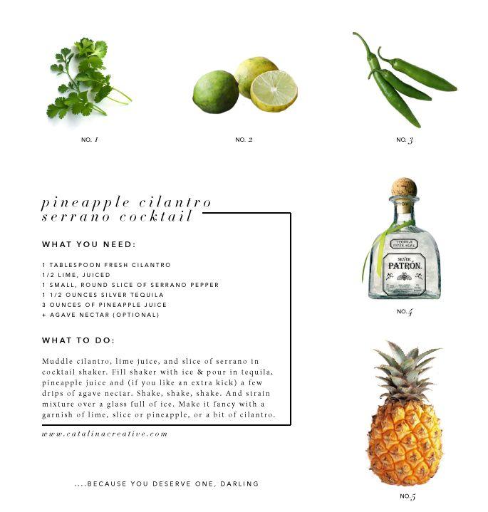 Pineapple Cilantro Serrano Cocktail from Catalina Creative