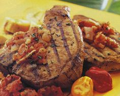 Grilled Pork Chops in Adobo with Tomato Ginger Chutney