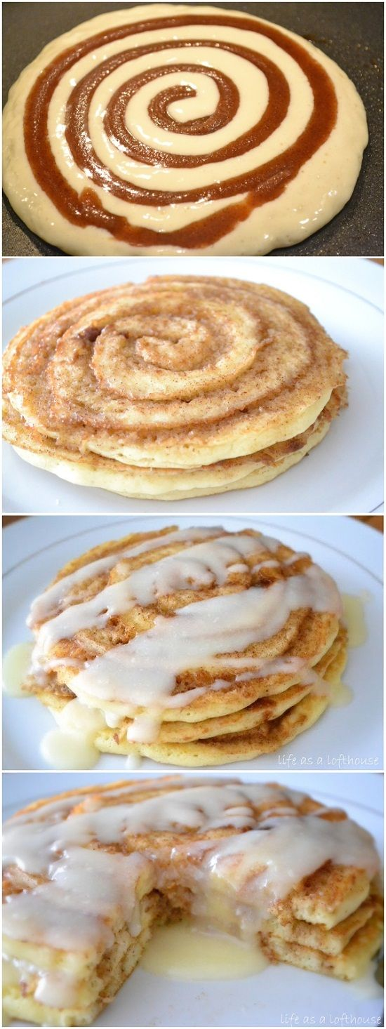 Oh my! These Cinnamon Roll Pancakes look delish. There are directions for prep but not how to actually make them... I assume like regular pancakes but you swirl in the cinnamon on one side???