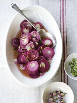 Pickled onion rings in rose vinegar. Gourmet Traveller.