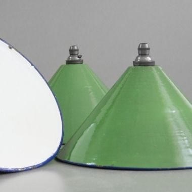 Retro French kitchen lights, Circa 1950, Vitreous enamelled spun steel shades with lower rolled rim in distinctive blue.
