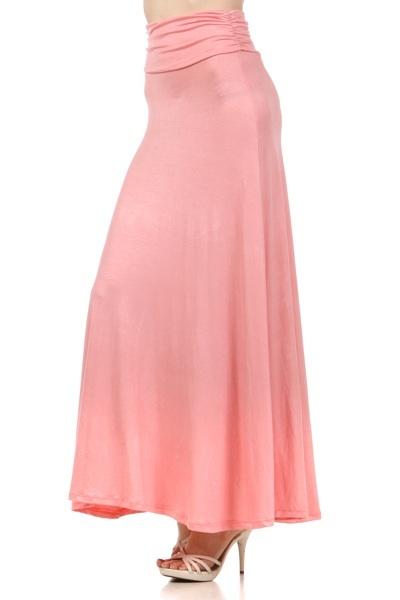 pastel pink maxi skirt