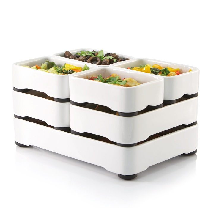 Stackable Oven-to-Table Cookware.  Hmm...