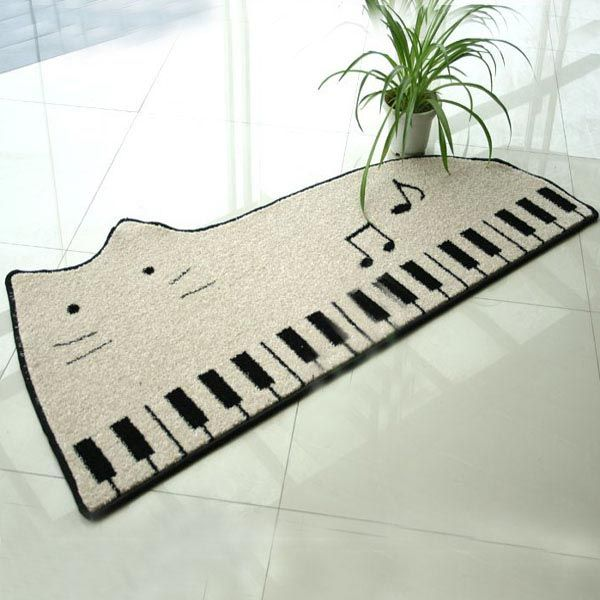 Cat Piano Cartoon Bathroom Door Mats Slip Resistant Feet Mats