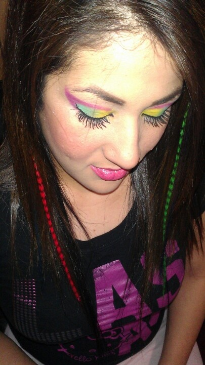 Pink and green extensions hot pink turquoise and yellow eyeshadow