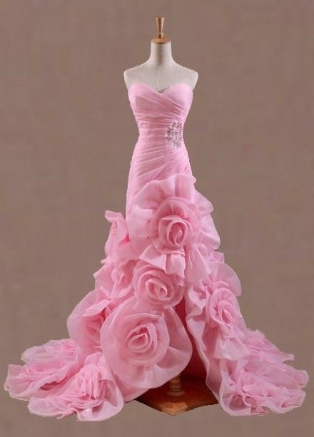Pink rose wedding dress oh my yes perfectly me in pink for Rose pink wedding dress