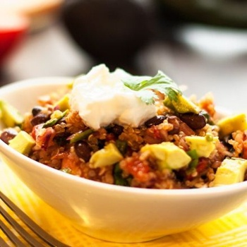 Smoky Black Bean, Poblano Pepper & Quinoa Salad with vegan sour cream