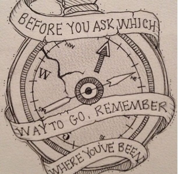'Before you ask which way to, go remember where you've been'<3 Stay Awake by All Time Low I think this would be  a meaningful tattoo! Not just something random to get, ya know?