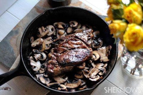 seared steak with red wine mushrooms | Food/Dinner Ideas | Pinterest