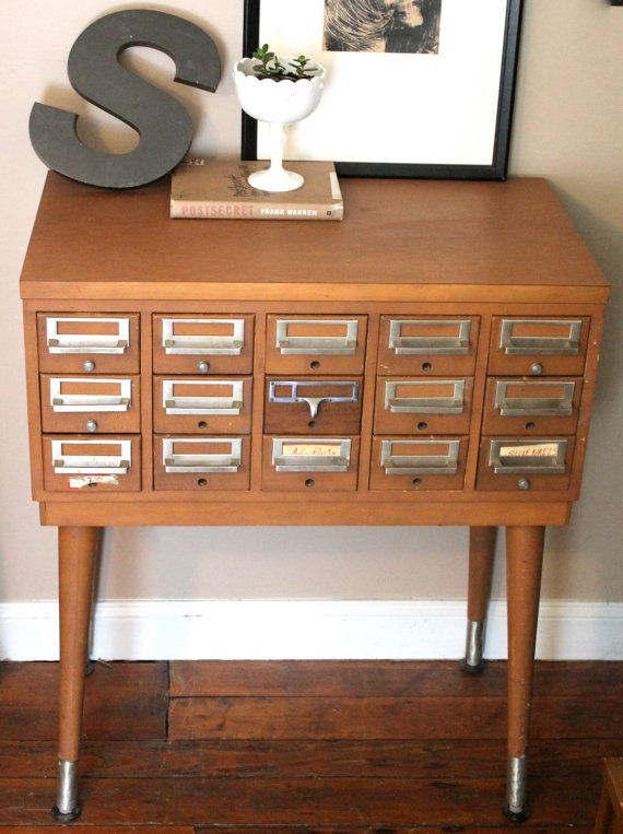 Mid Century Library Card Catalog File Cabinet