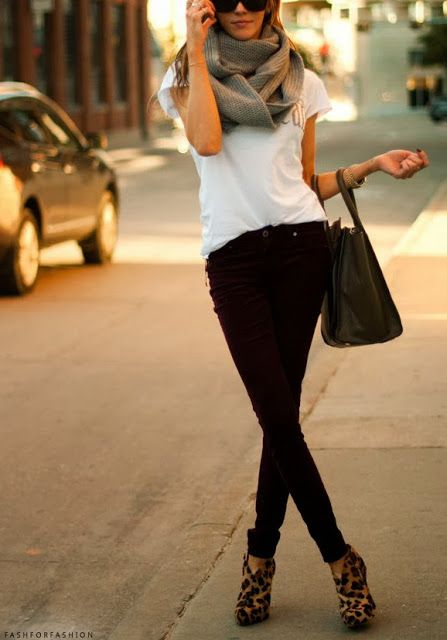 Leopard Pumps,Jeans,White Blouse,Handbag and Scarf