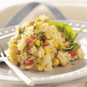 Tomato & Corn Risotto Recipe Serve topped with seared sea scallops!