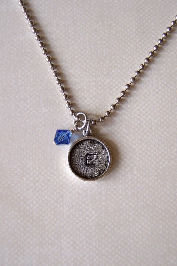 Hand stamped silver bezel initial necklace great for mothers daughters or a girl of any age.