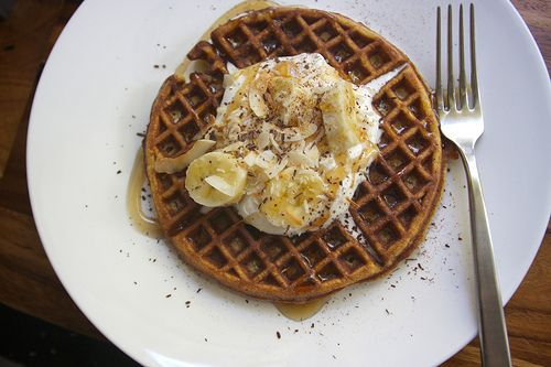 gluten free coconut waffles with maple whipped cream (see coconut milk ...