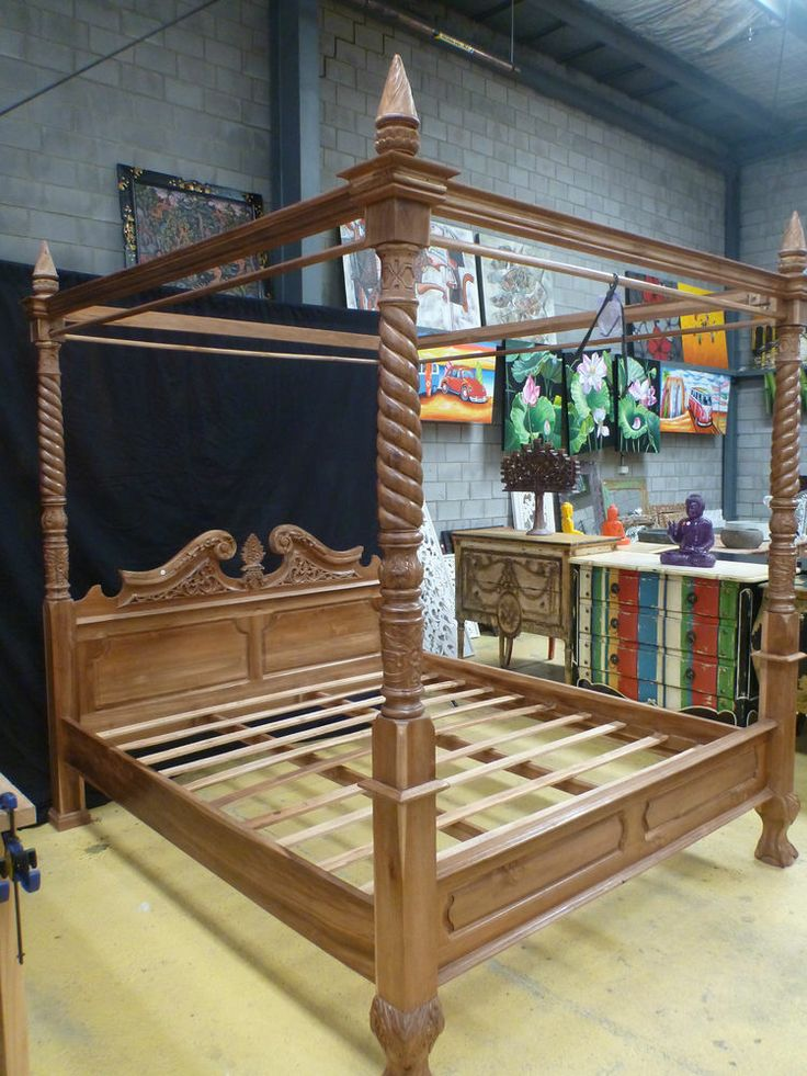 Balinese teak wood hand carved four poster bed king size for Wooden four poster bed