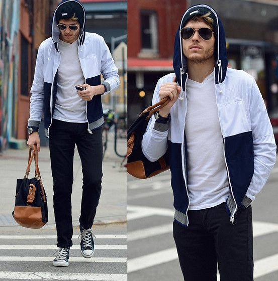 Number Lab Jacket, White V Neck, Ray Ban Aviators, Similar Here  > Black Skinnys, Similar Here  > Bag, Converse Chucks Hi Top, Armani Exchange  Watch