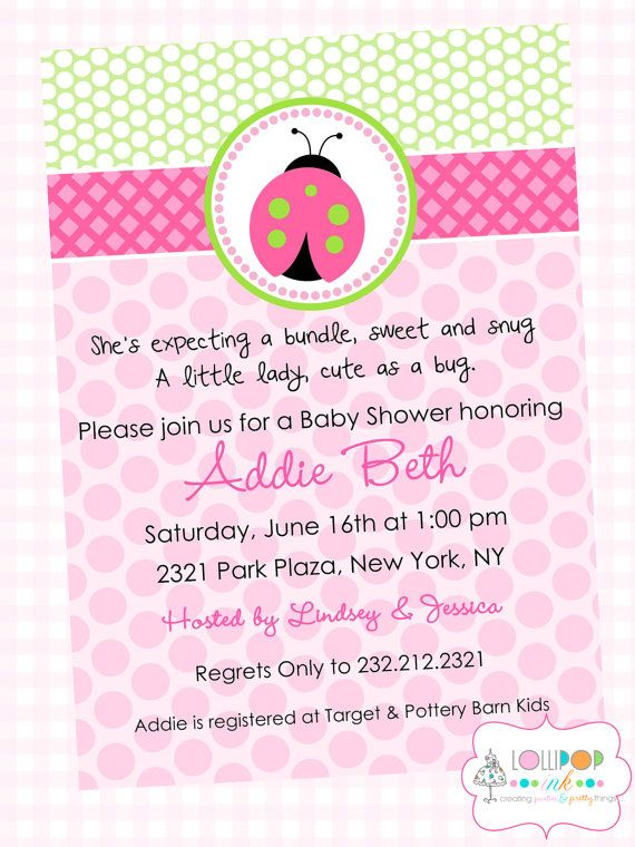 pink ladybug baby shower printable invitation personalized girl baby
